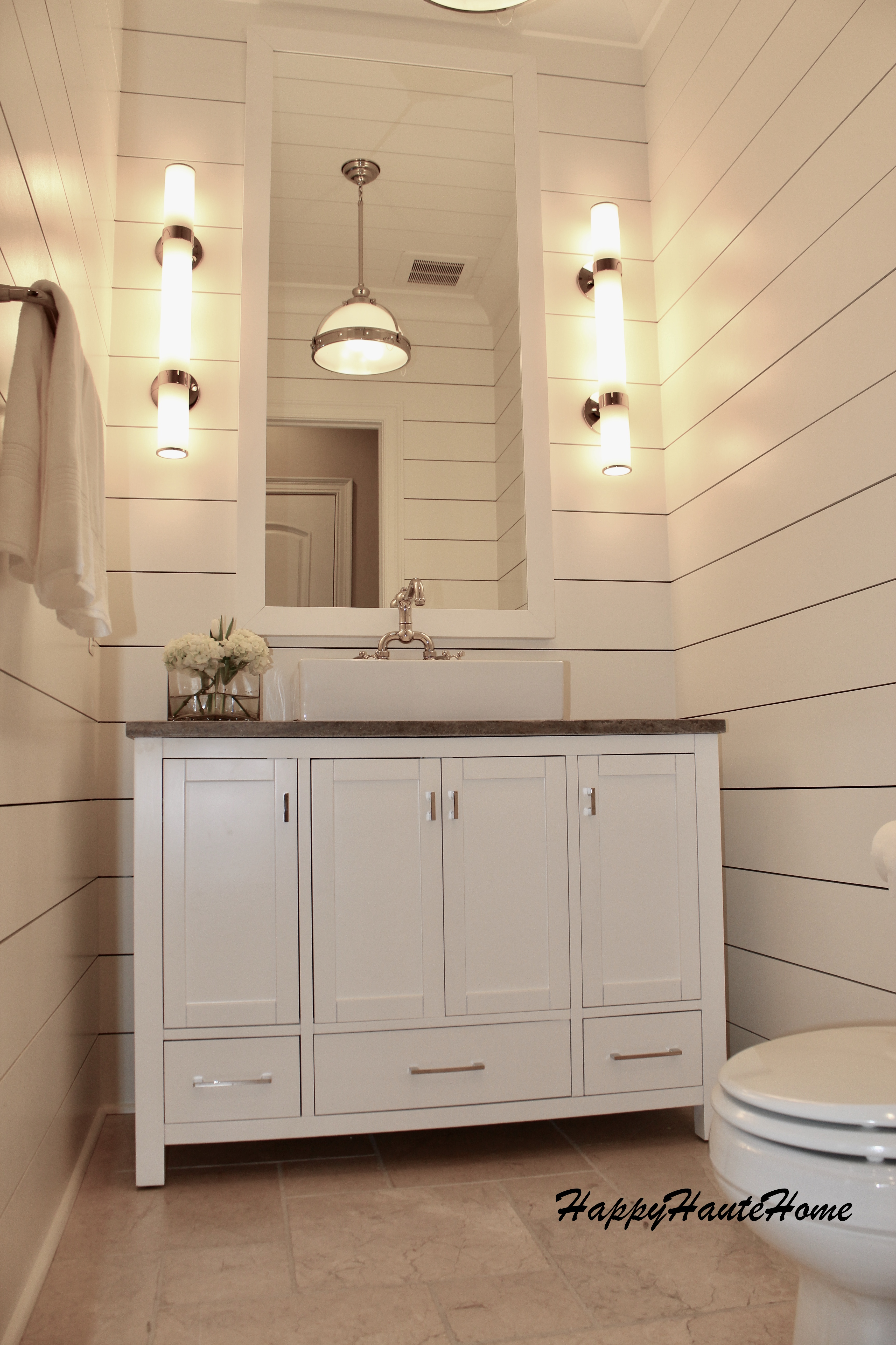 Modern Farmhouse Powder Room Remodel Using Planked Boards Happy Haute Home