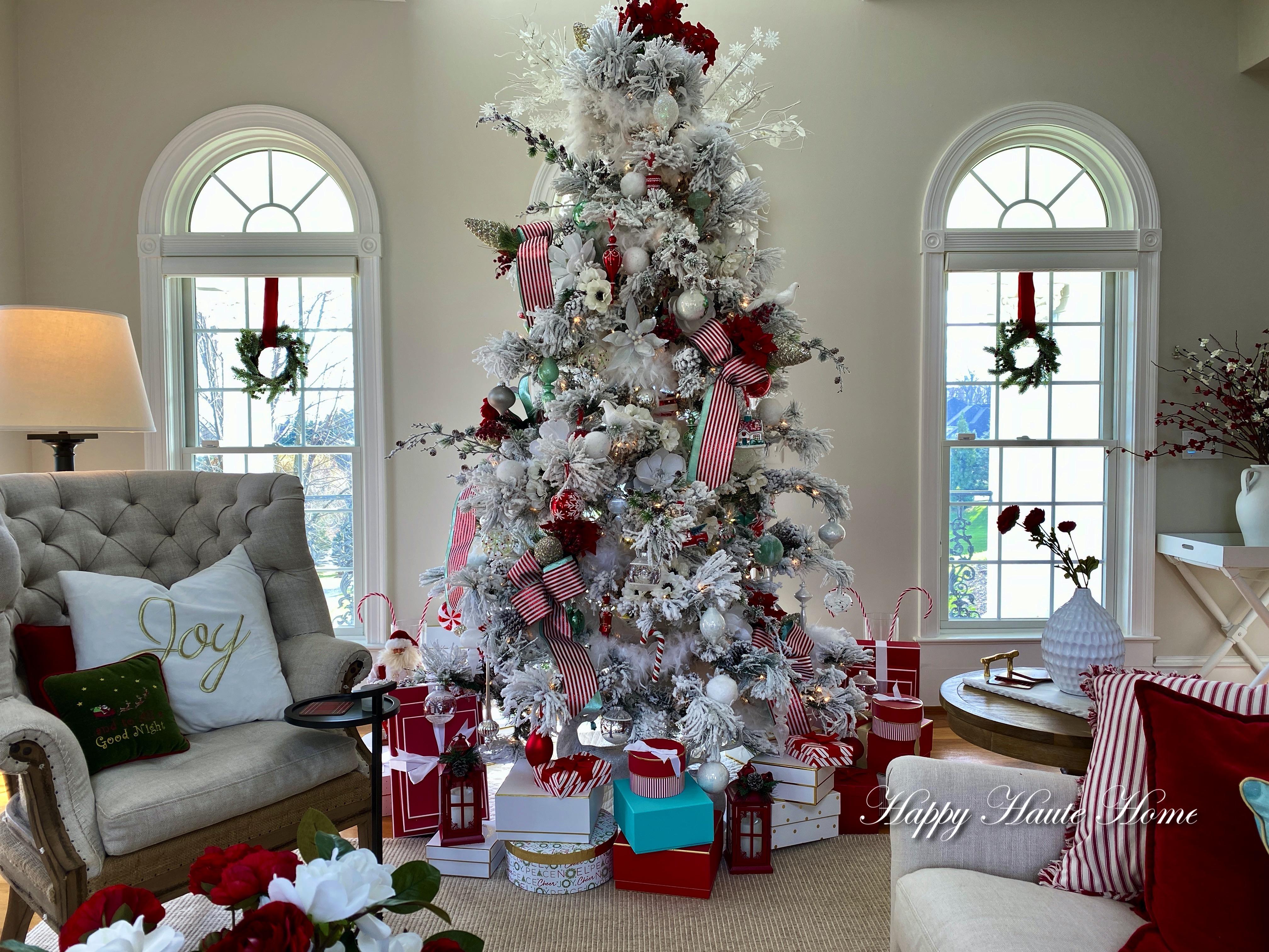 Flocked Christmas Tree Ideas Archives Happy Haute Home